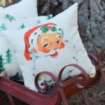 vintage watercolor santa pillow little birdie