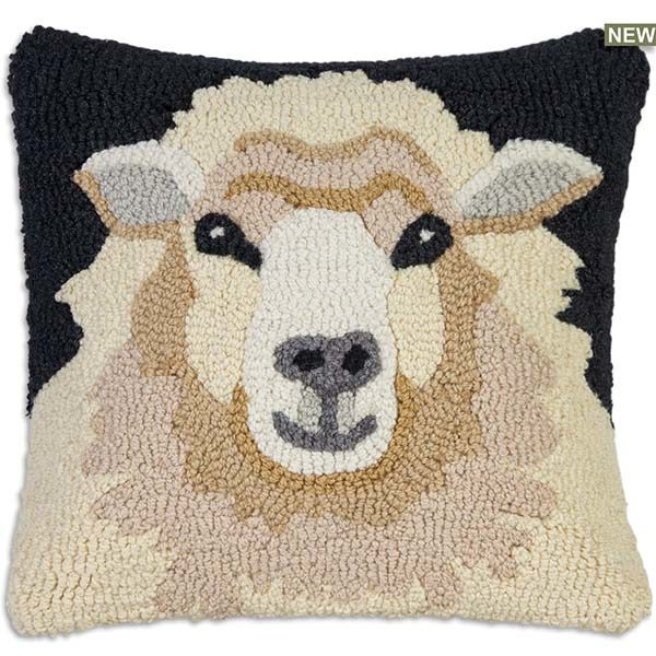 Sheep Face on Black chandler 4 corners throw pillow