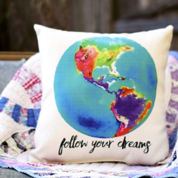 follow your dreams throw pillow little birdie