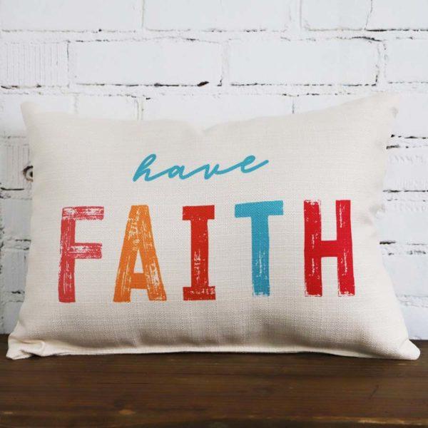 Have Faith Little Birdie throw pillow