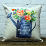 love grows here spring watering can little birdie throw pillow